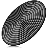 ME.FAN 11'' Large Silicone Ripple Trivet Mat, Potholder, Hot Pad, Spoon Rest, Jar Opener & Coaster, Heat Resistant up to 480F, Flexible, Durable & Non Slip (Black)