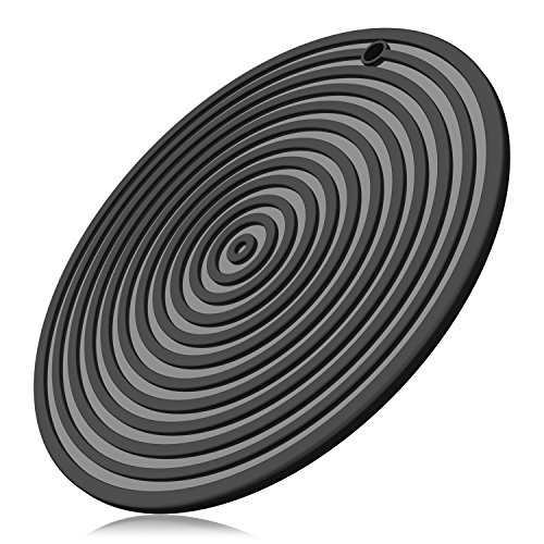 Round Silicone Trivet - ME.FAN 11'' Large Silicone Ripple Trivet Mat, Potholder, Hot Pad, Spoon Rest, Jar Opener & Coaster, Heat Resistant up to 480F, Flexible, Durable & Non Slip (Black)