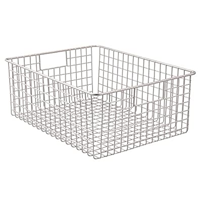 "InterDesign Classico Wire Storage Basket with Handles - 16"" x 12"" x 6"", Satin, Extra Large - Versatile storage - organizer bin can be used on a counter top or inside a cabinet to organize home essentials Modern design - open-wire construction provides a clean, modernistic look Built-in handles - integrated handles allow for easy portability - living-room-decor, living-room, baskets-storage - 51l40d4xxIL. SS400  -"