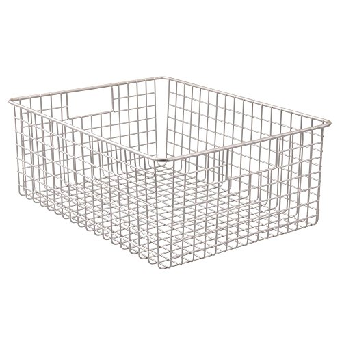 """51l40d4xxIL - InterDesign Classico Wire Storage Basket with Handles – 16"""" x 12"""" x 6"""", Satin, Extra Large"""