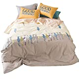 HIGHBUY Cat Print Kids Duvet Cover Twin Cotton 3 Piece Reversible Cross Pattern Hypoallergenic Soft Cotton Bedding Sets for Teens Boys Girls Hidden Zipper Closure,Style2
