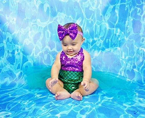 Wennikids Baby Girls Sequins Mermaid Bodysuit Romper Jumpsuit Summer Sunsuit Outfits Small Purple/Green