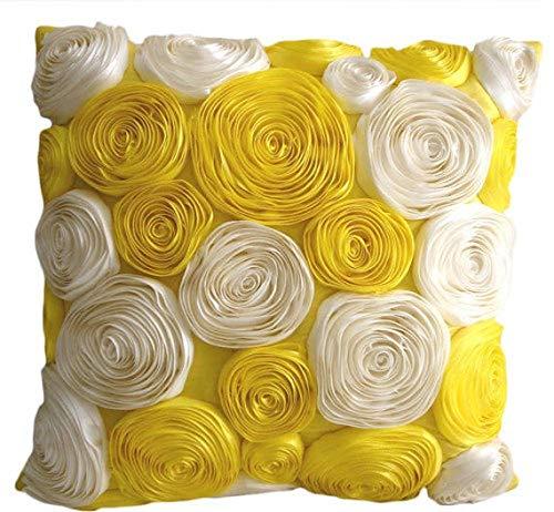 Lujo Amarillo fundas de cojines, Cinta de raso Rose amarilla ...