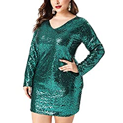 Plus Size V Neck Full Sleeves Green Cocktail Dress