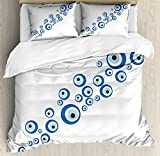 Evil Eye Duvet Cover Set King Size by Lunarable, Diagonal Evil Eye Stones Pattern Ancestral Ottoman Superstitious Belief, Decorative 3 Piece Bedding Set with 2 Pillow Shams, Navy Blue Pale Blue