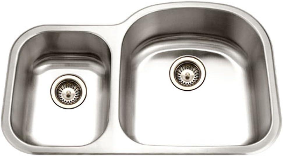 Houzer MC-3210SL-1 Medallion Designer Series Undermount Stainless Steel 70 30 Double Bowl Kitchen Sink, Small Bowl Left