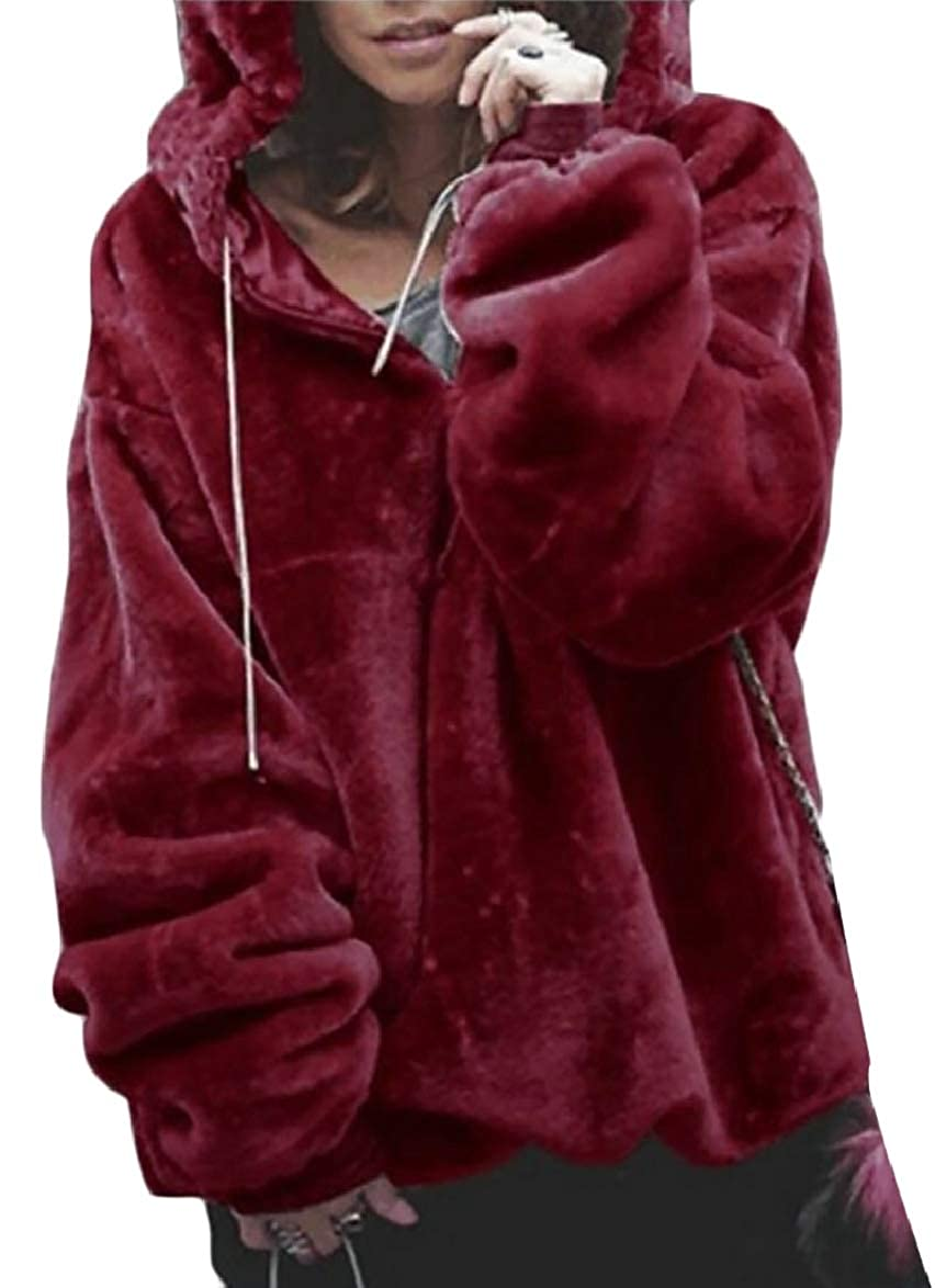 ouxiuli Women Jumper Fuzzy Hoodies Loose Fit Casual Thicken Pullover Sweatshirts