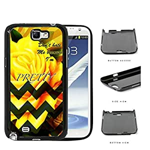Yellow Rose Flower And Green Chevron Don't Hate Me Script Hard Plastic Snap On Cell Phone Case Samsung Galaxy Note 2 II N7100