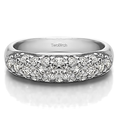 10k White Gold Diamond 1.05 CT Triple Row Pave Set Domed Wedding Ring (Size 3 To 15 1/4 Size Interval)