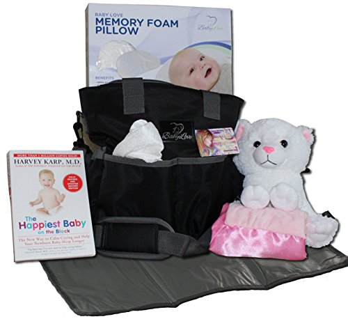 Baby Diaper Bag Gift Basket: New Mom Shower Gifts Set with Travel Changing Pad, Lullabies, Stuffed Animal, Receiving Blanket, Baby Pillow, and Harvey Karp Book - for Newborn Girls by Baby Love USA