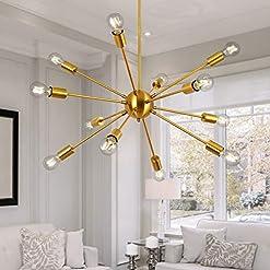 Interior Lighting Modern Sputnik Chandelier 12 Lights Brass Mid Century Sputnik Ceiling Light Fixture Industrial Vintage Pendant Lighting… modern ceiling light fixtures