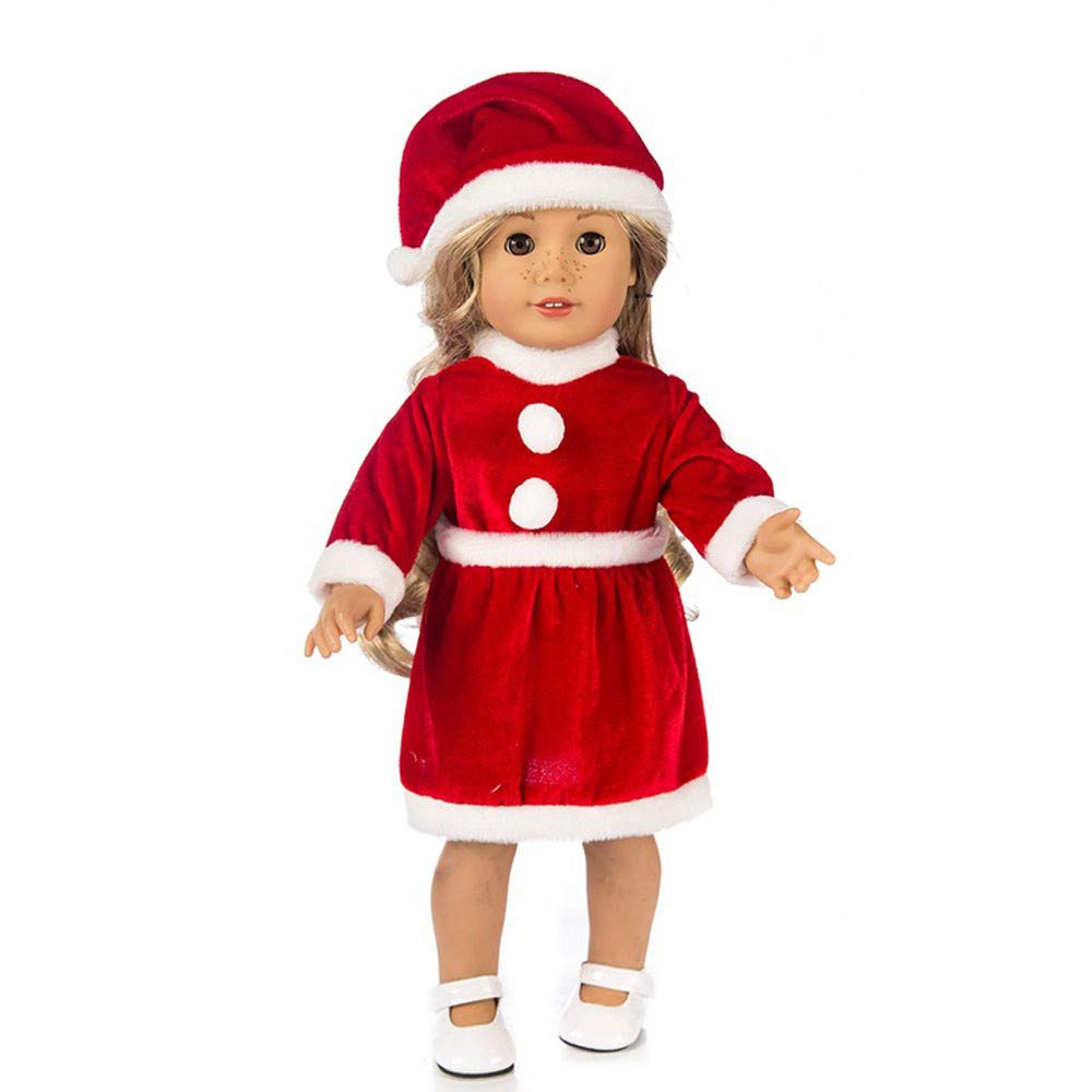 Wenini Chirstmas Clothes Dress Hat Shoes for 18 inch Our Generation American Girl Doll, Chirstmas Dress with Shawl, Shoes, Hat Outfits Handmade Girl Christmas Birthday Gift (Red 3Pcs)