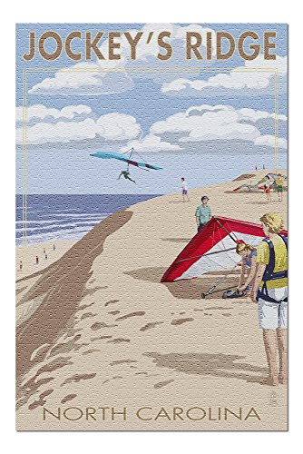 Outer Banks, North Carolina - Jockey's Ridge Hang Gliders (20x30 Premium 1000 Piece Jigsaw Puzzle, Made in USA!)