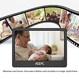 Digital Wifi Photo Frame,ACEPC P1 8 inch Digital Touch-Screen WIFI Cloud Frame with High Resolution LCD Screen and Free 10GB Cloud Storage, Built-in Speaker Slideshow Function for Displaying Photos