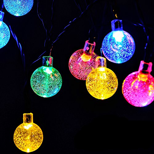 Globe Battery Operated String Lights with Timer - RECESKY 30 LED 17.5ft Fairy Crystal Ball Decor Lighting for Outdoor Indoor Garden Patio Home Xmas Wreath Christmas Tree Decorations - Multi Color from RECESKY