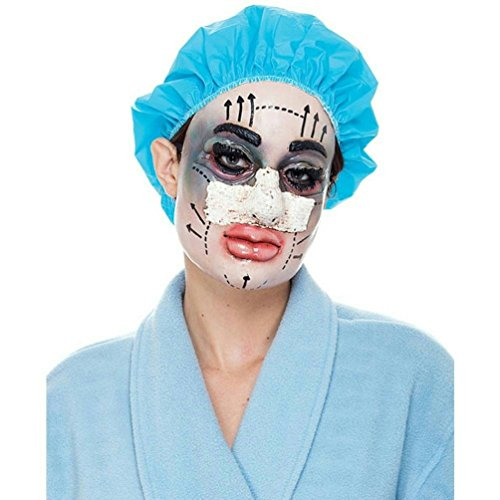 Plastic Surgery Patient Mask Funny Plastic Woman Mask with Attached Hair Cap -