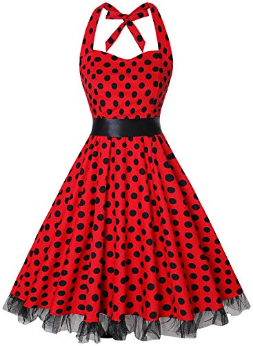 OTEN Women's Vintage Polka Dot Halter Dress 1950s Floral Sping Retro Rockabilly Cocktail Swing Tea Dresses -