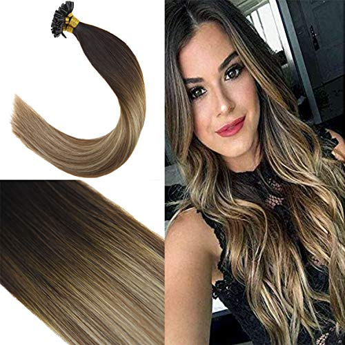 (Youngsee 20 Inches Remy Straight Keratin Fusion Tips Hair Extensions U Tip Human Hair Balayage Ombre Darkest Brown to Medium Brown with Blonde Real U Tip Human Hair Extensions 50g Per Package )