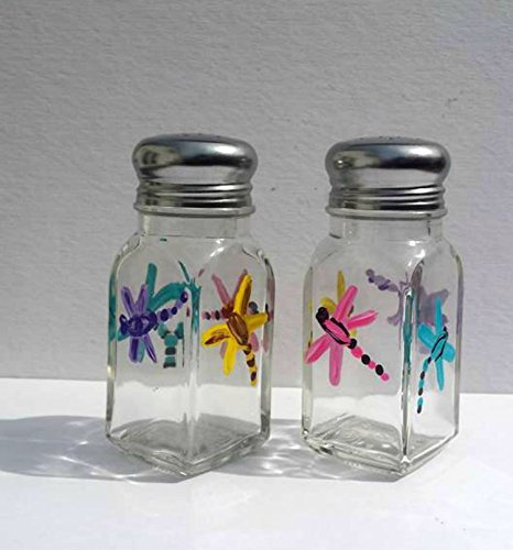 Dragonfly Hand Painted Multi Color Glass Salt and Pepper Shakers Set, Kitchen Decor