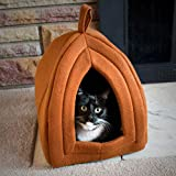 PETMAKER Cozy Kitty Tent Igloo Plush Cat Bed - Tan