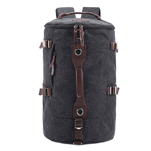 Hanshu Vintage Canvas Barrel Big Backpack Travel Duffel Bag Rucksack Hiking Bag, (Mossimo Black Belt)