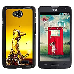 Qstar Arte & diseño plástico duro Fundas Cover Cubre Hard Case Cover para LG Optimus L70 / LS620 / D325 / MS323 ( Water Random Art Modern Structure Yellow)