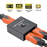 Uervoton HDMI 2.0 Switch, 2 Ports Bi-Directional HDMI Switcher 1 in 2 Out or 2 in 1 Out, Supports Ultra HD 4K@60Hz 3D 1080P for Nintendo Switch, Ps4, Ps3, Xbox One, Roku 3 and HDTV