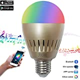 Bluetooth Music Bulb LED Smart Light Built-in Audio Speaker Led Light Ball with Wireless Speaker Smart Lamp Changing Color Controlled by Smartphones (7W, by Santaro)