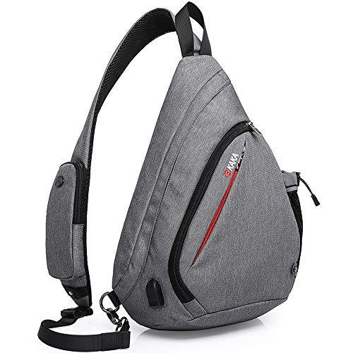 KAKA Sling Bag, Crossbody Backpack Canvas Waterproof Daypack Casual Shoulder Bag Traveling Hiking Camping for Men and Women (LARGER GRAY) reviews