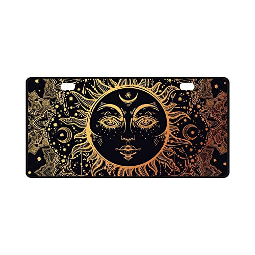 Beautiful Floral Paisley Sun Face Medallion Pattern License Plate Cover Stainless Steel Metal Car Vehicle ()