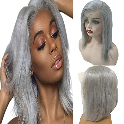 Human Hair Lace Wig Straight Grey Pre Plucked Virgin Human 150% Density Perfectly 13X6 Lace Front Grey Bob Wig 12