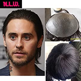 N.L.W. European virgin human hair toupee for men with transparent Thin skin PU, 10″ x 8″ Straight hair pieces for men