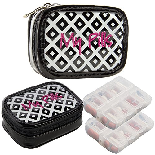 Miamica (2 Pack) 7-Day Pill Organizer for Women Small Travel Pill Case Box Cute Weekly (Mini Weekly Organizer)