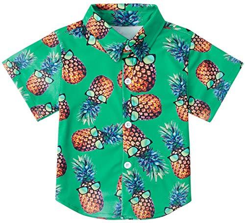 RAISEVERN Big Boy's Dress Shirt Tropical Cute Button Down Short Sleeve Cartoon Pineapple Top Kids Cool Hawaiian T-Shirt(7-8T) -