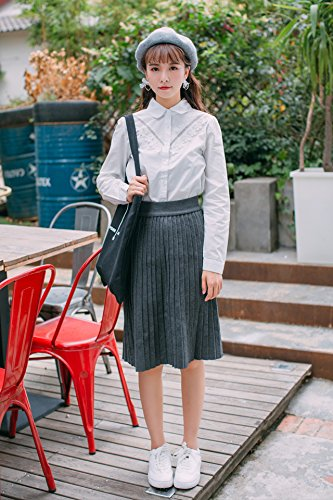 1a828cf8df1 Amazon.com   Mu flowers adorn this p hollow collar white shirt female  autumn and winter fashion temperament was thin models bottoming shirt for  women girl   ...