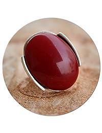 Elegant Unique Statement Antique Silver Plated Retro Vintage Fashion Women Adjustable Ring with Burgundy Stone