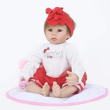 Hongge Se ve una muñeca renacida de Silicona Real El bebé Crece la muñeca de Juego renacida muñeca Regalo de 55cm: Amazon.es: Hogar