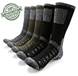 MIRMARU M202-Men's 5 Pairs Multi Performance Outdoor Sports Hiking Trekking Crew Socks (2Black,2Olive,1Char)