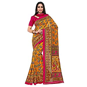 KUPINDA Women's Silk Saree With Unstitched Blouse Piece (4234-TK-08-GLD-TUS_Orange)