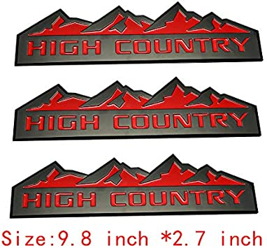 Gloss Black 3x High Country Emblem Fender Door Tailgate Badge 3D Nameplate Replacement For Silverado 1500HD 2500HD 3500HD
