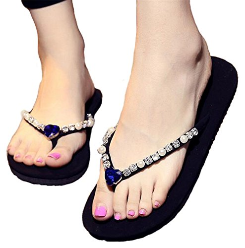 Blue Fashion Slip beginning Strap Anti Sandals Flat Studded Korean Beach Jewel Flip Auspicious Flop EAOFqYWUY