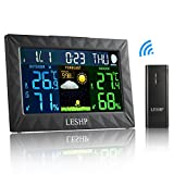 Wireless Weather Clock,LESHP Digital LCD Display Hygrometer Station Indoor&Outdoor Alarm Clock Function with External Sensor for Temperature,Humidity,Time,Calendar&Weather Barometric pressure
