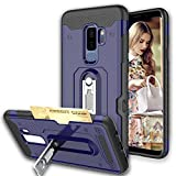 Galaxy A8 Plus 2019 Case,Suordii Heavy Duty Dual Layer Shockproof Air Cushion Bumper Protective Case with Kickstand and Credit Card Holder Slot Case for Samsung Galaxy A8 Plus 2019 (Blue)