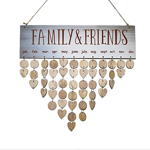 De Madera Calendarios Colgantes Recordatorio de cumpleaños Familia Fecha Planificador Signo Familia Amigos Calendarios de...