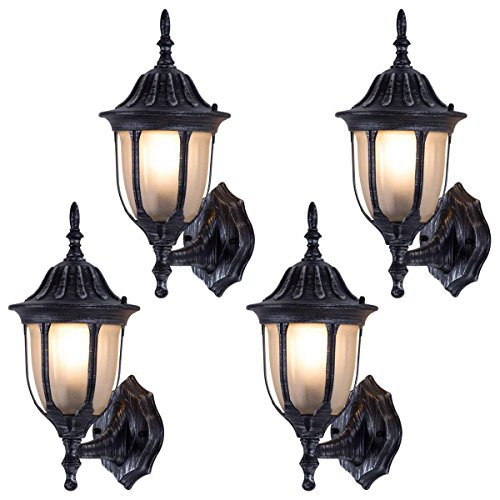 XHJJDJ In Home 1-Light Outdoor Wall Mount Lantern Downward Fixture Series Traditional Desigh Bronze Finish, Clear Glass Shade (4 Pack) (Color : Black) ()