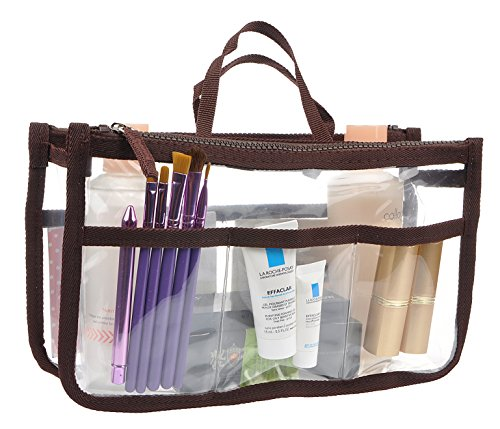 Vercord Clear Purse Handbag Tote Insert Organizer 7 Pockets With Zipper Handle Transparent Brown Medium