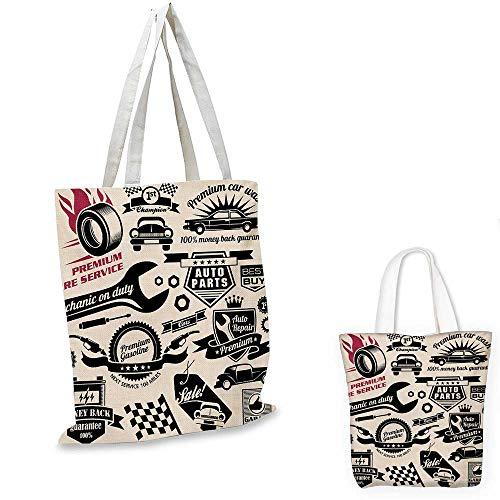 Retro portable shopping bag Car Repair Shop Logos Monochrome Car Silhouettes Best Garage in Town shopping bag for women Beige Dark Coral Black. 12