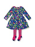 Le Top Divine Little Girl Corduroy Smocking Dress & Tights Outfit Set -5