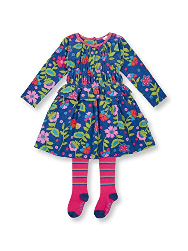 Le Top Divine Little Girl Corduroy Smocking Dress & Tights Outfit Set - Dress Tights Corduroy