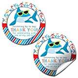 shark party favor box - Shark in Sunglasses Birthday Party Thank You Sticker Labels, 20 2